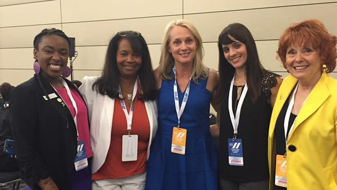 A contingent of Arizona women who attended the United State of Women Summit in Washington, D.C., met national leaders including author Piper Kerman, who penned the memoir on which the series Orange is the New Black is based. A. Margot Brisky (from left to right), ShaRon Rea, Piper Kerman, Charissa Cleveland and Sue Ellen Allen.