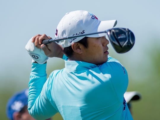 Dae-han Lee drives off the No. 12 tee at Victoria National