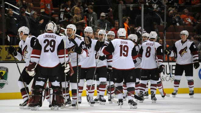 Arizona Coyotes celebrate the goal scored by left wing Mikkel Boedker (not pictured) to win 4-3 against Anaheim Ducks in the overtime period at Honda Center on Nov. 9, 2015.