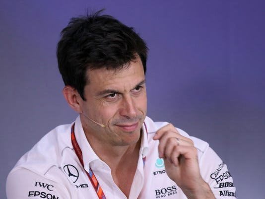 Head of Mercedes-Benz Motorsport Torger 'Toto' Wolff gestures during a press conference after the second practice session for the Austrian Formula One Grand Prix at the Red Bull Ring in Spielberg, Austria, Friday, July 7, 2017. The Austrian Grand Prix will be held on Sunday. (AP Photo/Ronald Zak)
