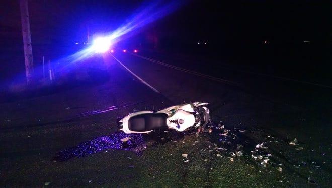 A motorcycle crash, at Silverton Road NE and Desart Road NE, critically injured the driver.