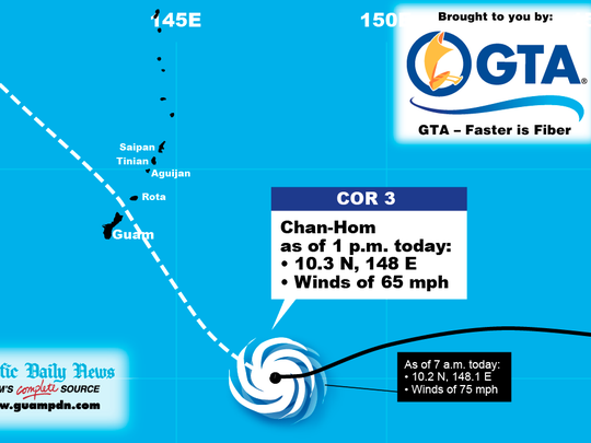 Track Chan-hom using this graphic provided by the Pacific Daily News.