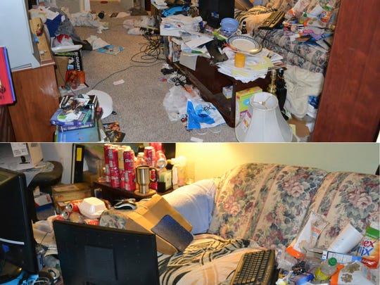 When investigators entered the trash-strewn apartment, the then-suspect was in the process of downloading additional files on his living room couch where he spent much of his time.