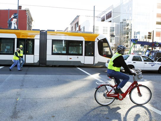 A streetcar takes a test ride through the streets of