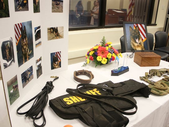 A memorial service was held for K-9 Titan on Friday