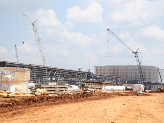Buildings at the Clarksville Hankook site during construction