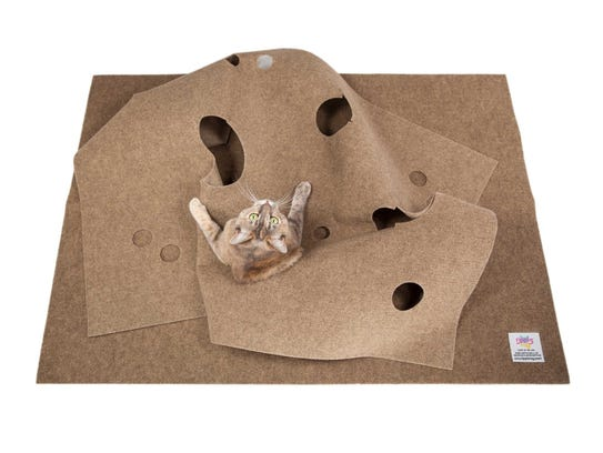The Ripple Rug cat toy consists of two pieces of carpet.