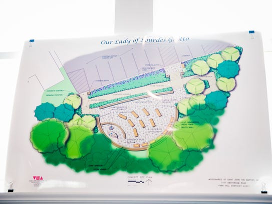 Plans for the Our Lady of Lourdes are displayed in