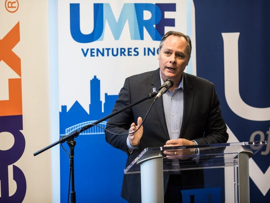 University of Memphis President David Rudd speaks during a launch party for the new student-run tech support call center at the FedEx Institute of Technology. The school was the first public college in the state to offer paid parental leave.