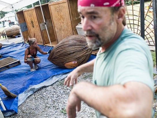 September 09, 2017 -Terri Fox prepares one of the giant