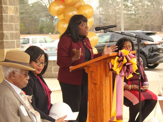 U.S. Rep. Terri Sewell addresses a large crowd at a