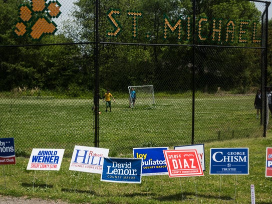 May 01, 2018 - Campaign signs line the entrance to