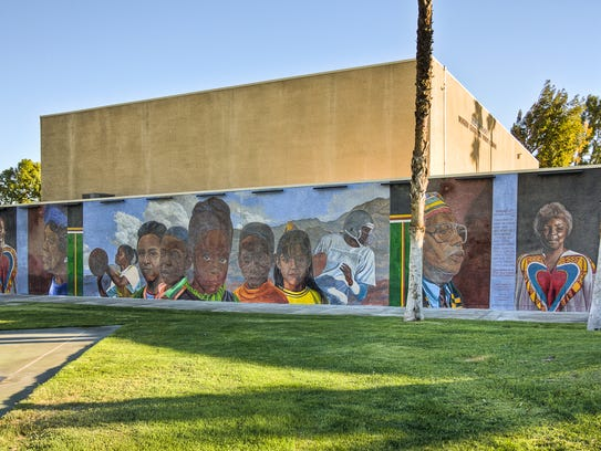A mural on the exterior of the James O. Jessie Desert