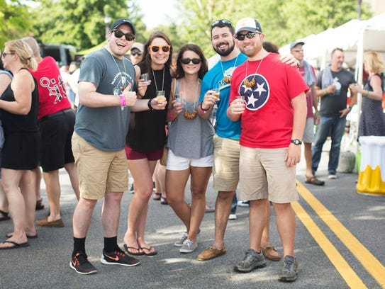A group of friends enjoys Maryville's 2017 Hops in the Hills festival.