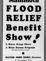 A flood relief benefit ad appeared in The Indianapolis Star.