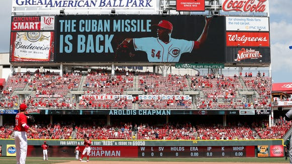 Reds relief pitcher Aroldis Chapman lived up to the message on the big screen as he earned the save Sunday against the Rockies at GABP.