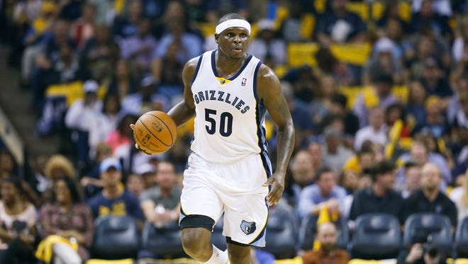 Memphis Grizzlies forward Zach Randolph dribbles down the court against the Oklahoma City Thunder in the first half of Game 3 of an opening-round NBA basketball playoff series Thursday, April 24, 2014, in Memphis, Tenn.