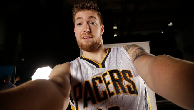 Indiana Pacers forward Shayne Whittington (42) poses for a portrait during the NBA basketball team's media day in Indianapolis, Monday, Sept. 29, 2014. (AP Photo/AJ Mast)