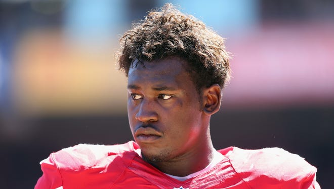 SAN FRANCISCO, CA - SEPTEMBER 08:  Linebacker Aldon Smith #99 of the San Francisco 49ers looks on against the Green Bay Packers at Candlestick Park on September 8, 2013 in San Francisco, California.  (Photo by Jeff Gross/Getty Images)