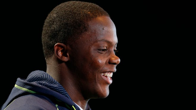 Feb 22, 2014; Indianapolis, IN, USA; Louisville Cardinals Teddy Bridgewater speaks to the media in a press conference during the 2014 NFL Combine at Lucas Oil Stadium. Mandatory Credit: Brian Spurlock-USA TODAY Sports