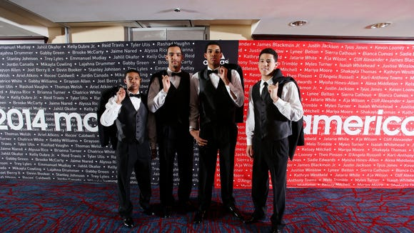 Apr 2, 2014; Chicago, IL, USA; McDonalds All Americans who will be attending University of Kentucky from left to right Tyler Ulis, Trey Lyles, Karl-Anthony Towns, and Devin Booker pose for a photo before the game at the United Center.