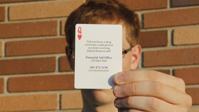 University of Wisconsin-Whitewater campus administrators provide incoming freshmen with a deck of playing cards that contain advice, campus rules and information on the penalties for selling drugs on campus.