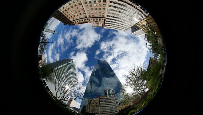Chase Tower in downtown Phoenix photographed with a fisheye lens.