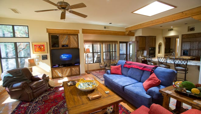 The family room in Pat Bassett and Bob Bassett's Wickenburg home.