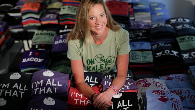Cyndi Grasman of Bad Pickle Tees, seen with her quirky food-related T-shirts at her home in Valley Center, California.