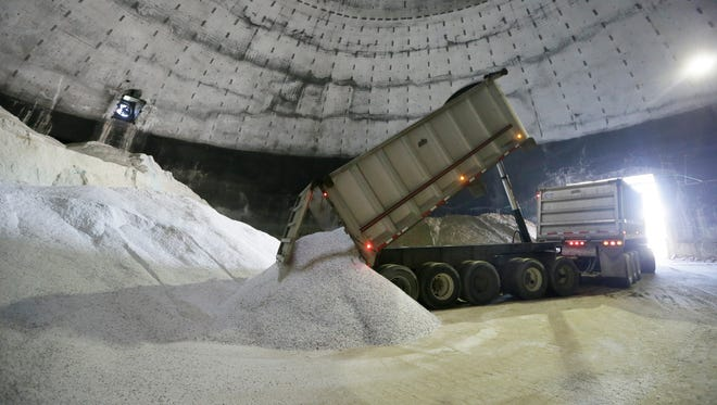 In this Sept. 16 photo salt is unloaded at the Scio Township, Mich. maintenance yard. The rewards for surviving last year's punishing winter are tight supplies of road salt and some drastic price spikes for the commodity across much of the U.S. as the next cold season approaches. Some Midwest county road officials are facing price increases that are twice or more _ even five times _ what they paid last year if they can get it. Increases of at least 20 percent have been common in cities including Boston and Raleigh, North Carolina.