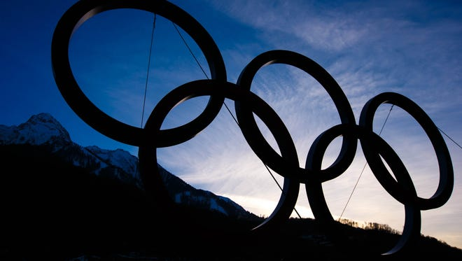 Feb 7, 2014; Krasnaya Polyana, RUSSIA; Olympics rings across from the Krasnaya Polyana transport hub in the mountain cluster at the Sochi 2014 Olympic Winter Games prior to the opening ceremonies. Mandatory Credit: Guy Rhodes-USA TODAY Sports ORG XMIT: USATSI-175658 ORIG FILE ID:  20140207_rvr_ar3_001.jpg