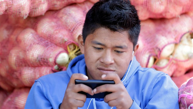 In this Aug. 24, 2014, photo, a young man texts a message on his mobile phone while working at the Mayorista Market in Quito, Ecuador.