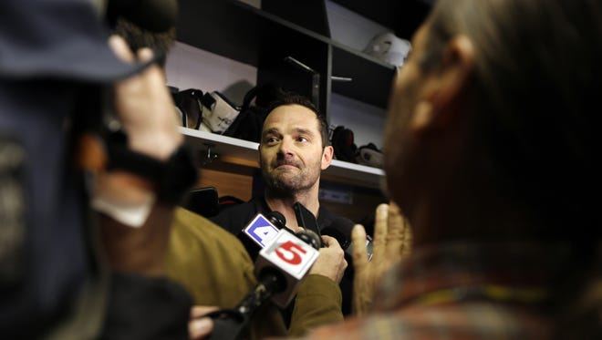 The Stars' Vernon Fiddler speaks to the media following  practice Tuesday in St. Louis. The Stars' Rich Peverley is undergoing testing to determine what triggered his collapse during a game Monday night in Dallas.