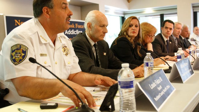 Rockland Sheriff Louis Falco speaks at Tuesday's public hearing, held by the New York State Senate Task Force on Heroin and Opioid Addiction. The forum was held  at the Valley Cottage Public Library.