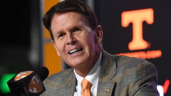 Tennessee athletics director Dave Hart answers questions during a press conference at UT's Ray & Lucy Hand Digital Studio in Knoxville on Dec. 1, 2015.