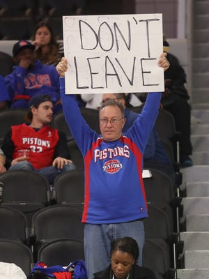 Detroit Pistons fan Mark Ignasiak expresses his opinion about the Pistons' impending move to downtown Detroit on Monday, Nov. 21, 2016, at the Palace of Auburn Hills.