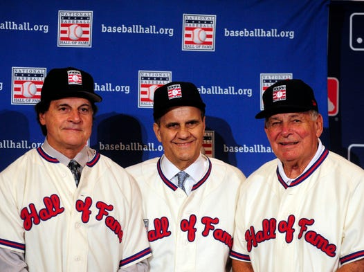 The National Baseball Hall of Fame inducted managers Tony La Russa, Joe Torre and Bobby Cox in their first year of eligibility.