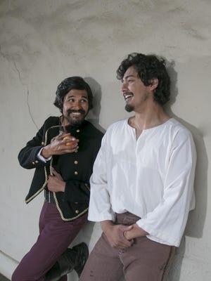 Charming rogue Tiburcio Vasquez (Andres Ortiz), left, reflects on his recent exploits with fellow bandit Cleodovio Chavez (Jacob Juarez).