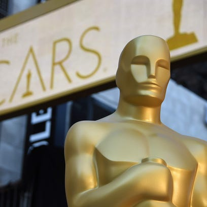 An Oscar statue is seen at the red carpet arrivals