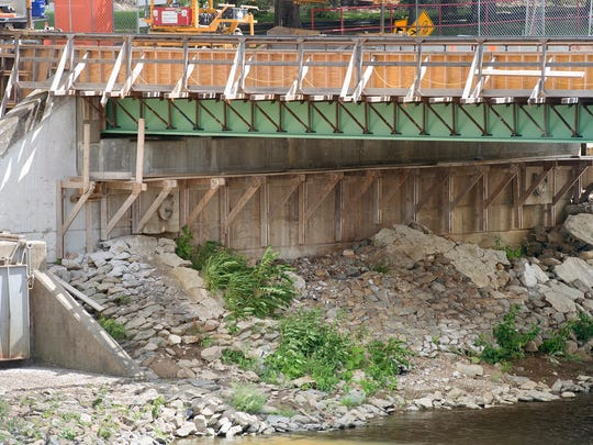 The Princess Street bridge on Aug. 22, 2016. Knaub was found, buried underneath rocks, along the left bank beneath the bridge in 1985 near an area at the middle of the photo. The bridge is undergoing renovations,