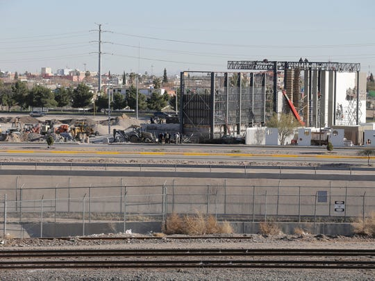Work on the altar that will be used during the Mass that Pope Francis will celebrate Feb. 17 continues in Juárez, near the Rio Grande.