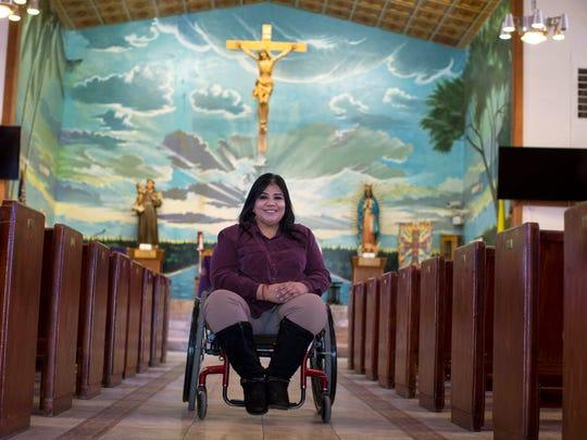 Anthony city Mayor Diana Murillo-Trujillo poses for a portrait at St. Anthony's Roman Catholic Church.