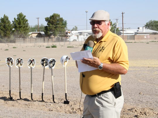 Alamogordo Public Schools Board President David Weaver said it was a good day for Alamogordo prior to groundbreaking ceremony for Sunset Elementary School Thursday.