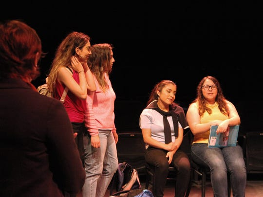 "(left to right) Kelly Yarborough as ""Helen,' Lizbeth Hernandez as ""Marisela,"" Nancy Garcia Camarena as ""Clara,"" Mireya Pamatz as ""Yadira,"" and Jasmine Zepeda as ""Elissa"" rehearse for the Western Stage 2x4BASH production of ""Just Like Us."""