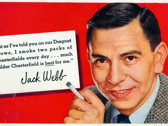 TV actor Jack Webb selling Chesterfield cigarettes in this ad from the 1950s-1960s.