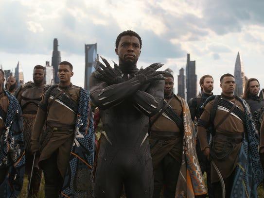 Wakanda, home of Black Panther (Chadwick Boseman, center),