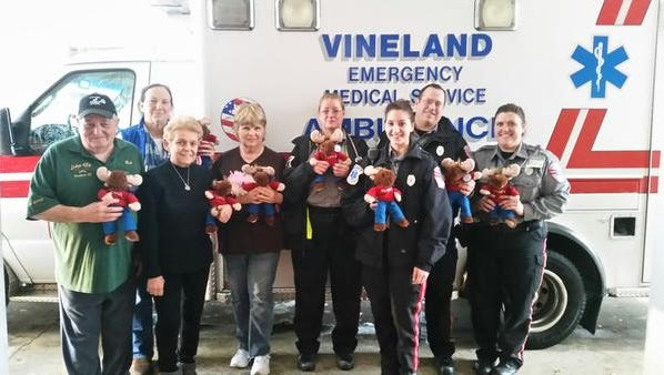 Vineland Moose Lodge No. 434 donated Tommy the Moose stuffed animals to the Vineland Emergency Medical Service. The stuffed animals will be handed out to children who are sick or injured and in need of transportation to the hospital for continued emergency care. Pictured (from left) are Bob Martin, president of Vineland Moose Lodge No. 434; Gladys Borgese; Linda Williams; Dottie Greenwood; and emergency medical technicians Veronica Trio, Megan Chillari, Nick Minosse and Stephanie Stepsis.