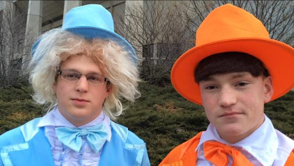 """Andrew McEvoy and Alec Wycoff, both 18, dressed up as the famous """"Dumb and Dumber"""" movie duo for """"GameDay"""" at Hilton Coliseum in Ames on Saturday."""