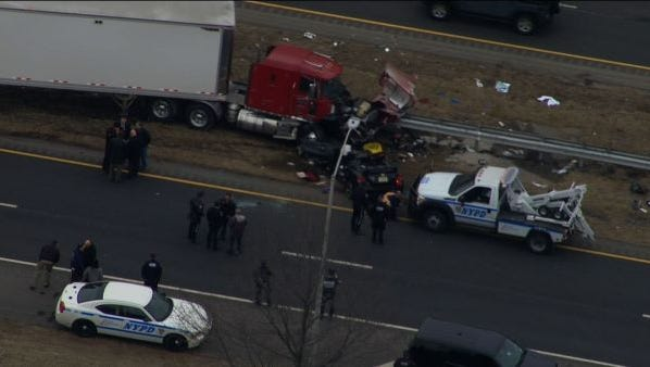 A Linden police officer died and two other officers were injured in this Friday morning crash in Staten Island.