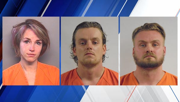 Suspects in Hoosier Lottery scam identified as Ashlee Parsley (left), Joseph Parsley (center), and Jackie Parsley (right).